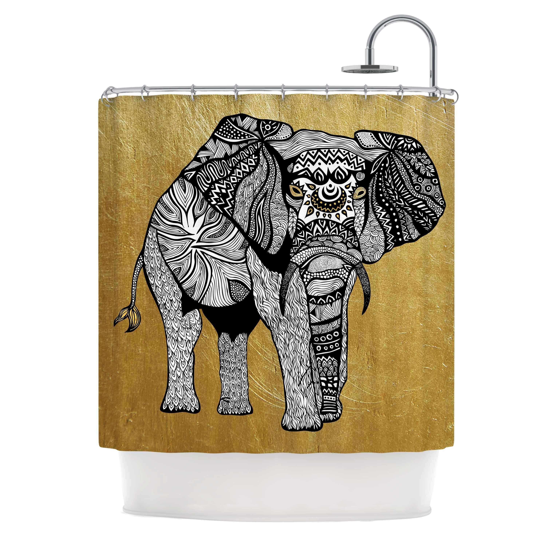 East Urban Home Golden Elephant Shower Curtain