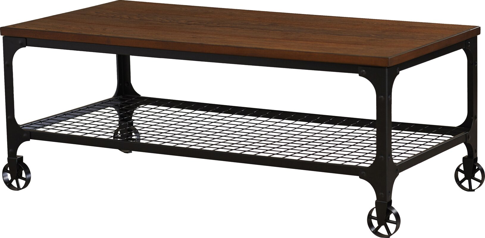 Mercury row corvus rectangle industrial coffee table for Wayfair industrial coffee table