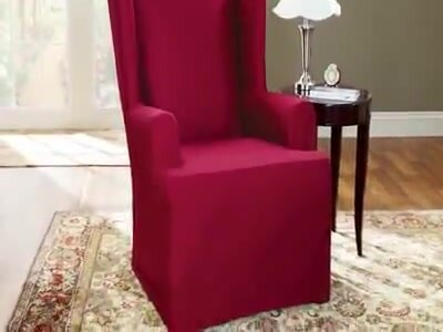 Sure Fit Cotton Duck T Cushion Wingback Slipcover