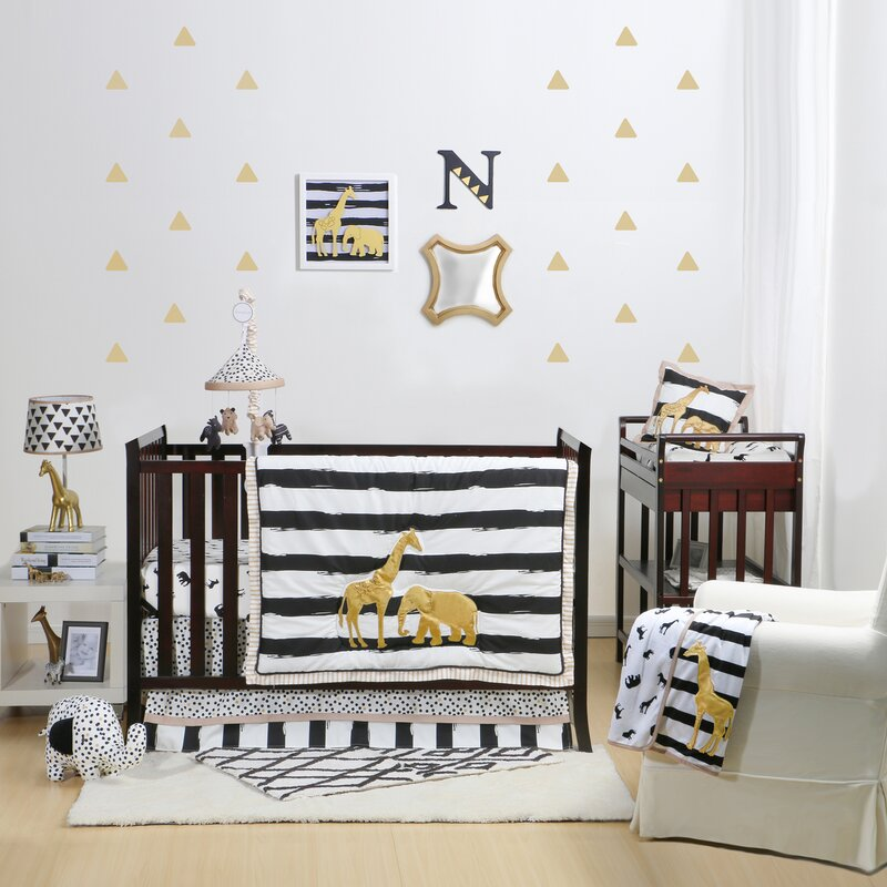 Harriet Bee Rollins 3 Piece Crib Bedding Set: Safari Nursery Bedding