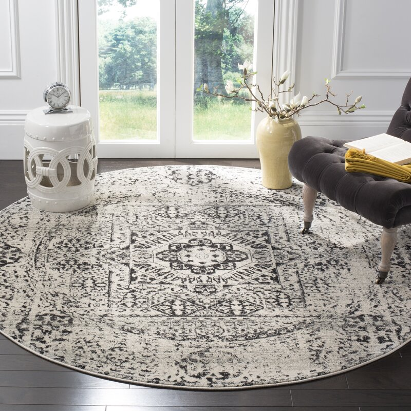 Baldwin Park Power Loomed Ivory/Black Area Rug