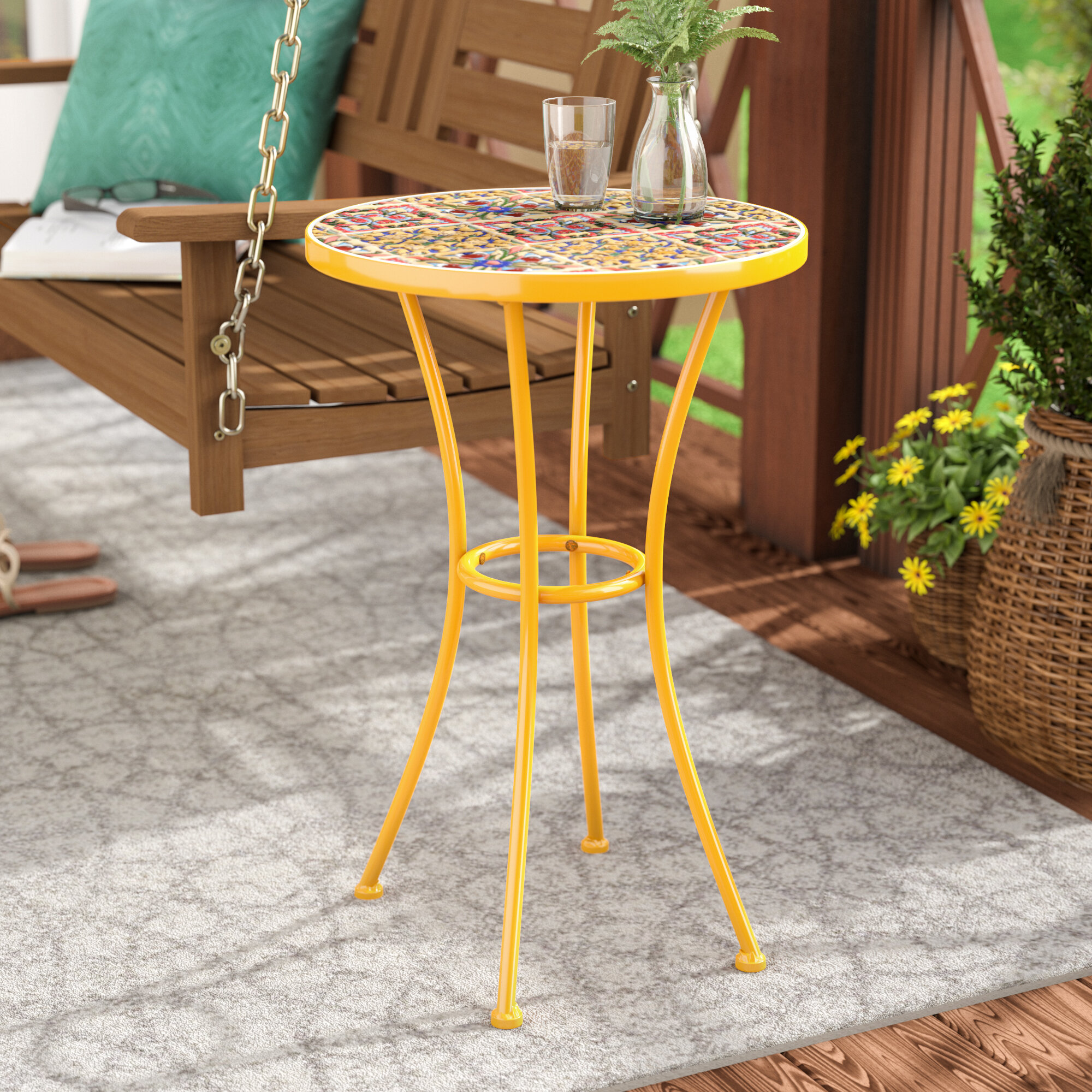 Bungalow Rose Chantel Outdoor Ceramic Tile Side Table U0026 Reviews | Wayfair