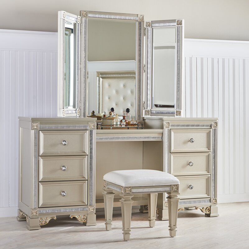 Mirror For Vanity Fairfax Home Collections Tiffany Vanity With Mirror & Reviews .