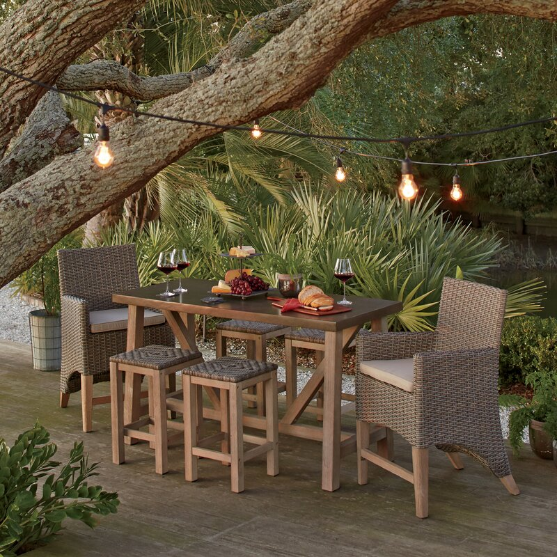 Birch Lane Monterey Piece Teak Bar Height Dining Set With - Teak bar height outdoor table