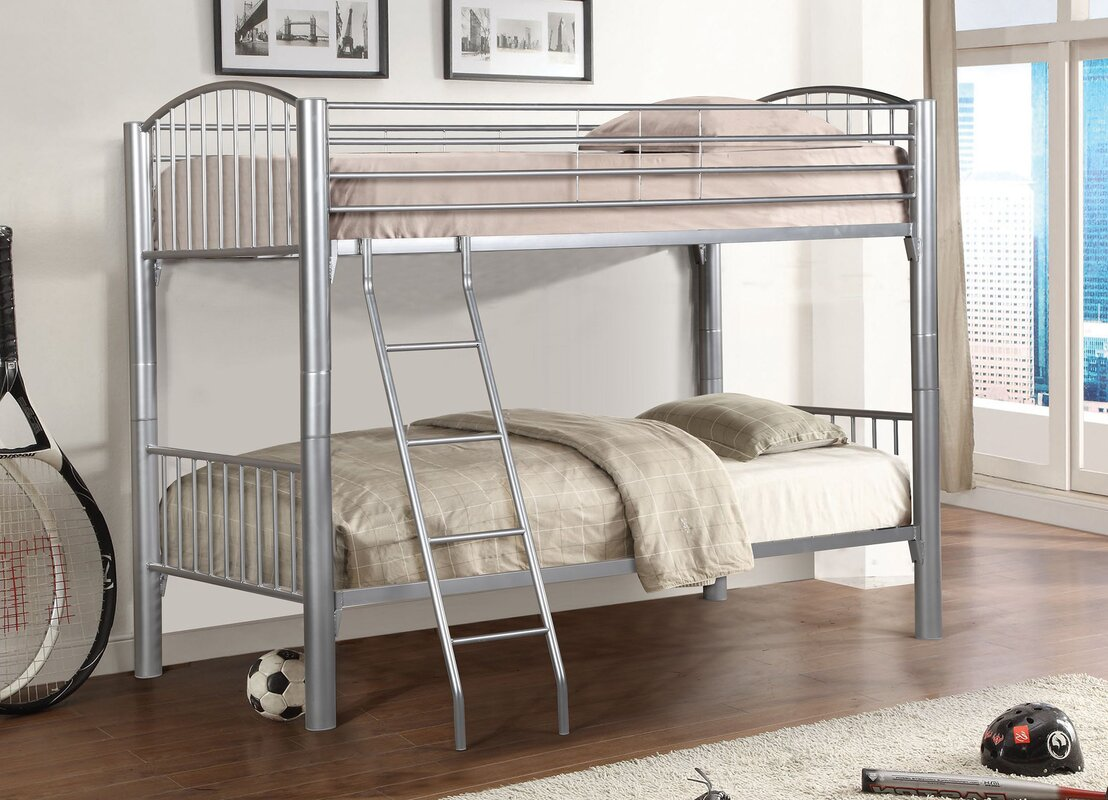 Harriet Bee Bellar Metal Twin over Twin Bunk Bed & Reviews | Wayfair