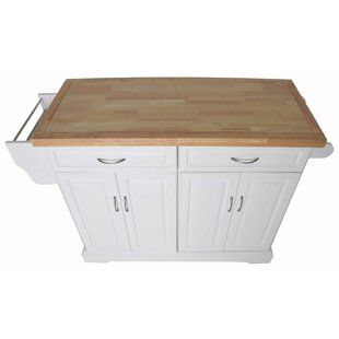 Leisha Kitchen Island with Solid Wood Top