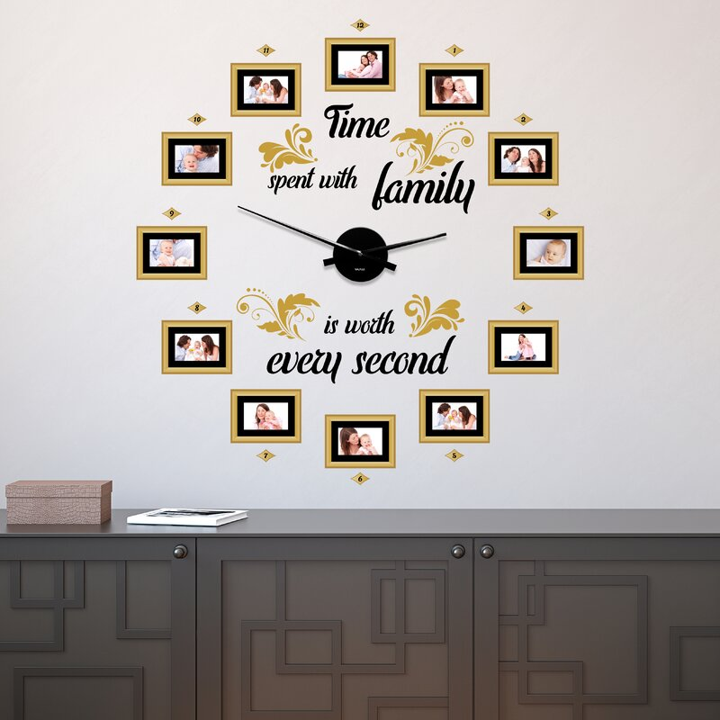 Family Time Photo Frames 10cm Silent Wall Clock