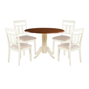 Dahle 5 Piece Drop Leaf Solid Wood Dining Set