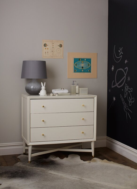 Mid Century 3 Drawer French White Dresser