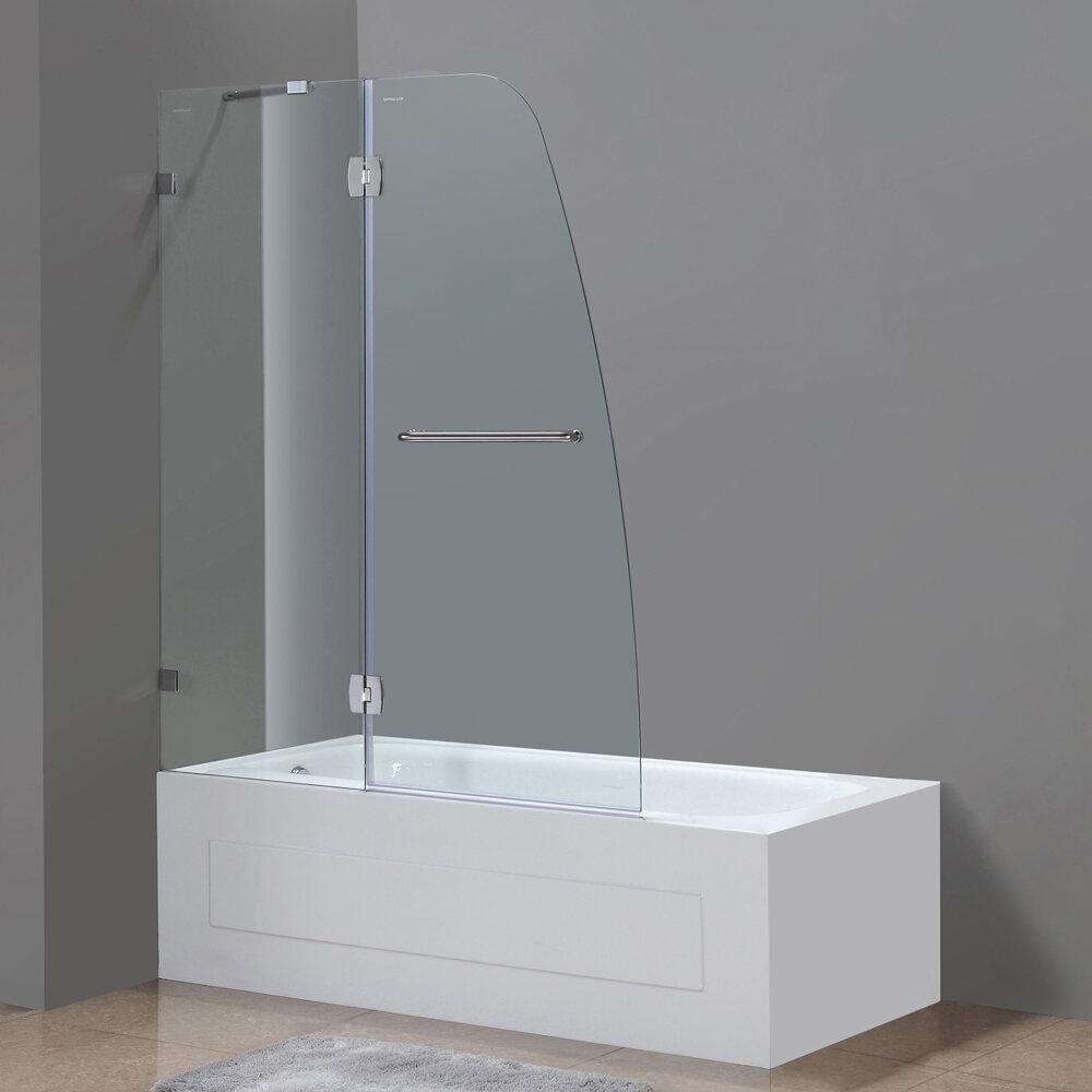 Aston Soleil 48 X 58 Hinged Completely Frameless Tub Height Shower Door Wayfair Ca
