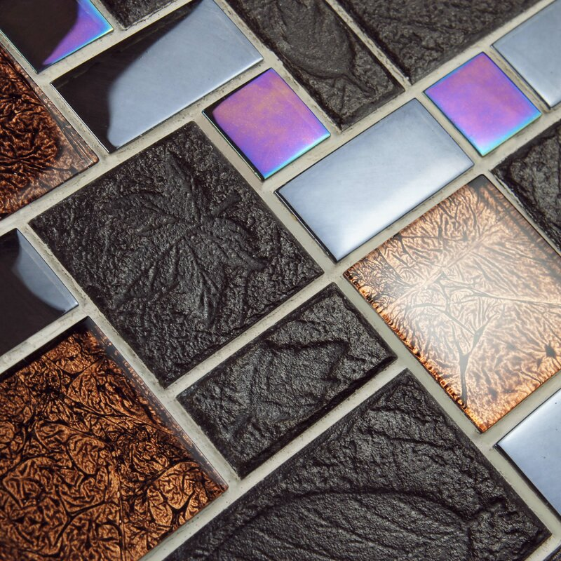 Elitetile Eden Random Sized Glass And Stone Mosaic Tile In