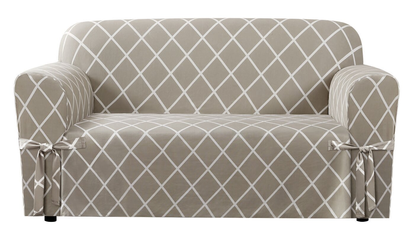 Wayfair Dining Room Chair Covers: Sure Fit Lattice Box Cushion Loveseat Slipcover & Reviews