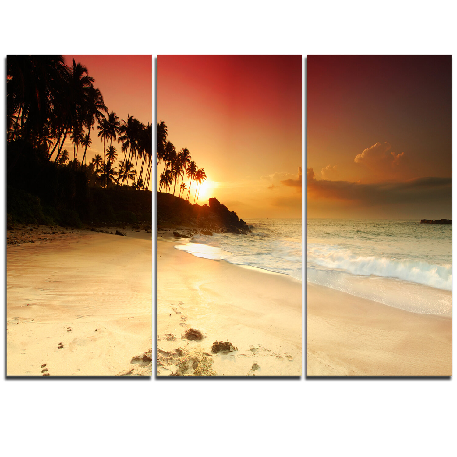 DesignArt Amazing Sunset and Beach in Sri Lanka - 3 Piece Graphic ...