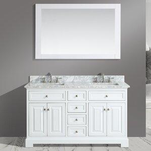 Rochelle 60  Double Bathroom Sink Vanity Set with MirrorDouble Vanities You ll Love   Wayfair. Double Vanity With Storage Tower. Home Design Ideas