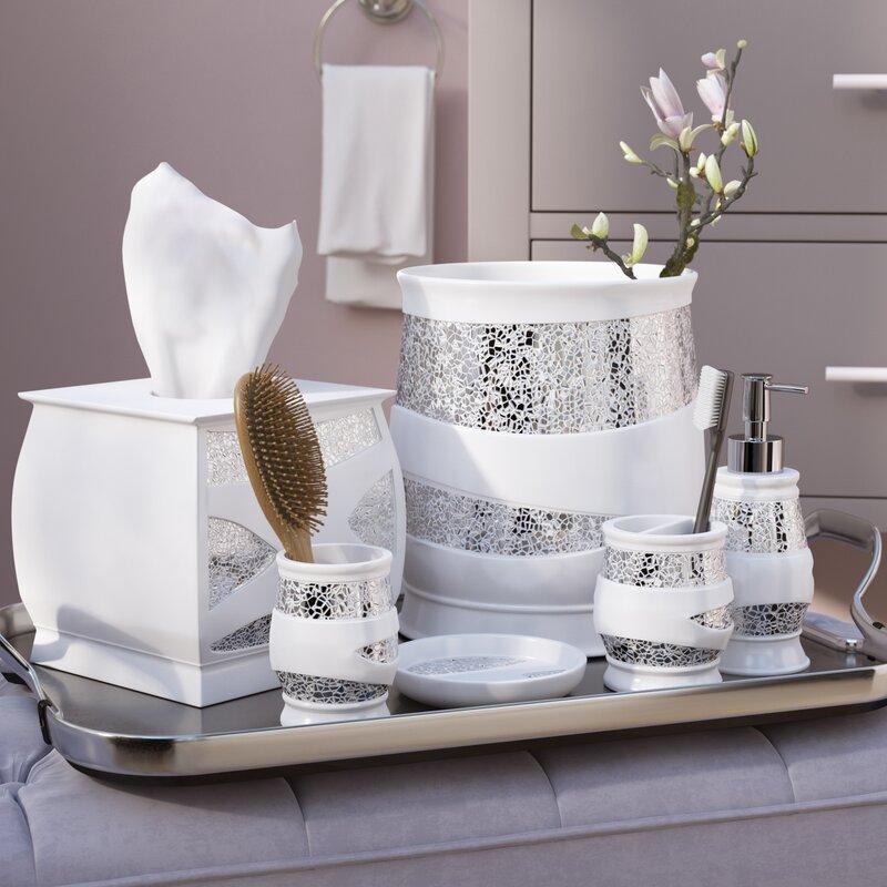 Willa Arlo Interiors Rivet 6 Piece White/Silver Bathroom ...