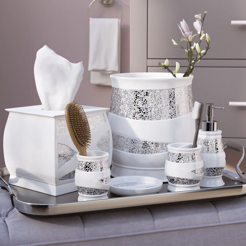 Rivet 6 Piece White Silver Bathroom Accessory Set