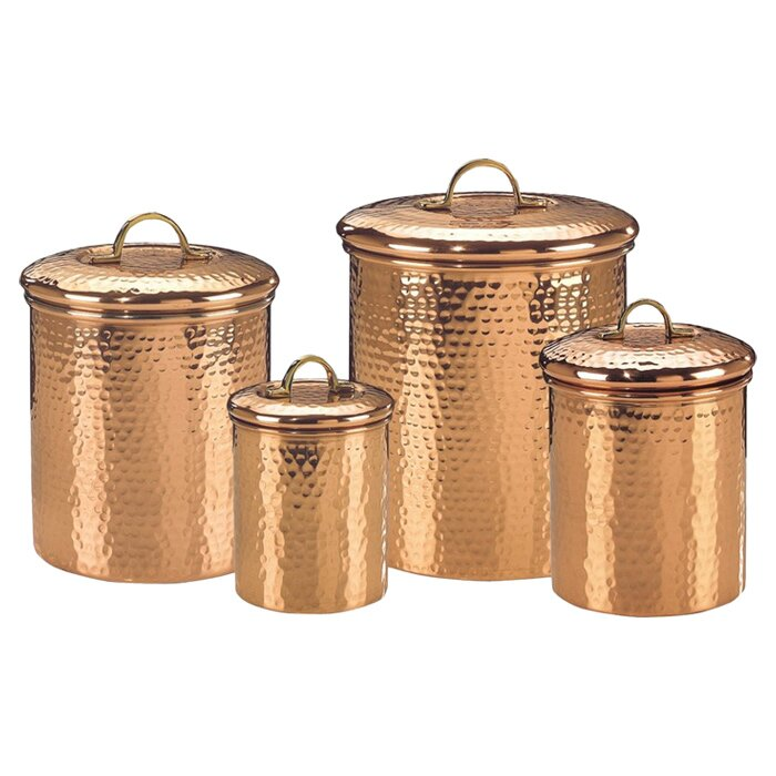 Old Dutch Hammered 4 Piece Kitchen Canister Set & Reviews | Wayfair.ca