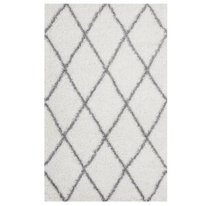 Perrodin Diamond Lattice Gray/Ivory Area Rug