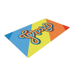 Roberlan Groovy Typography Blue/Orange Area Rug