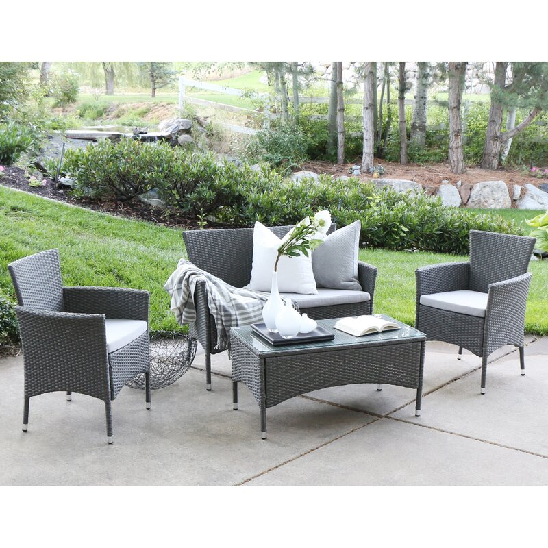 Angelo home baxter 4 piece sofa set with cushions reviews Angelo home patio furniture