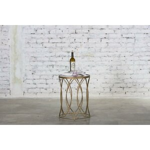 Hermina Marble End Table by Rosdorf Park