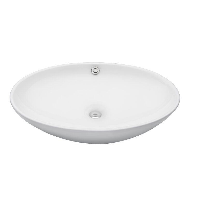 Merveilleux Ceramic Oval Vessel Bathroom Sink With Overflow