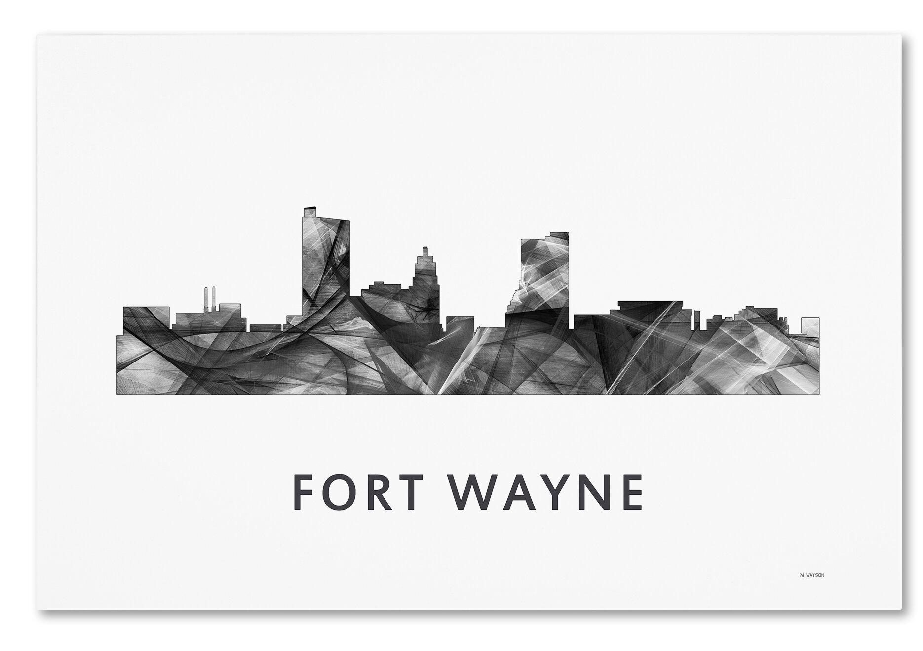 trademark art fort wayne indiana skyline wb bw by marlene watson