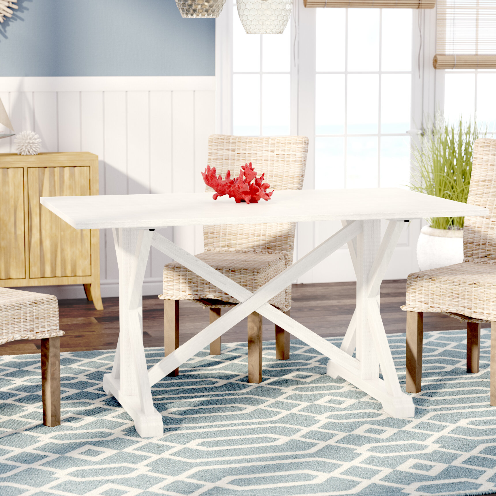Beachcrest Home Roeper Distressed Farmhouse Dining Table