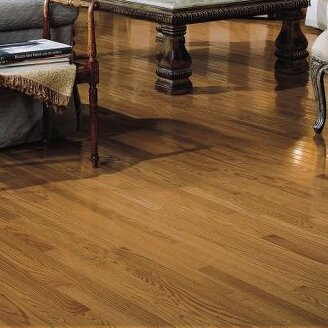 "2-1/4"" Solid Oak Hardwood Flooring in High Glossy Mellow"