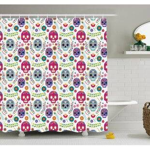 Mexican Different Latin Sugar Skull With Flower And Branch Figures Artwork Shower Curtain Set
