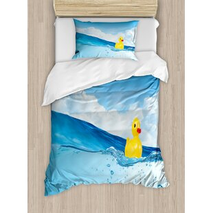 Rubber Duck Toy Swimming In Pond Pool Sea Sunny Day Floating On Water Duvet Cover Set