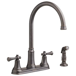American Standard Portsmouth Double Handle Deck Mounted Kitchen Faucet with Spray