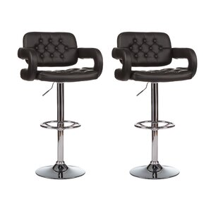 Mid-Back Adjustable Height Swivel Bar Stool (Set of 2) by Winport Industries