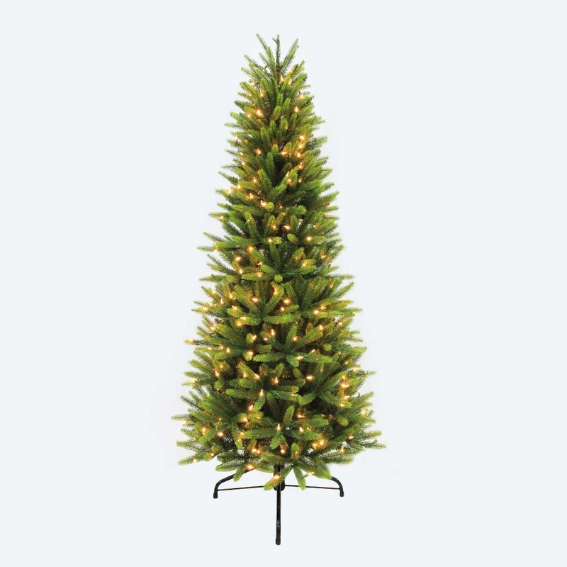 pre lit slim washington valley 65 green spruce artificial christmas tree with 400 warm - Pre Lit Slim Christmas Tree