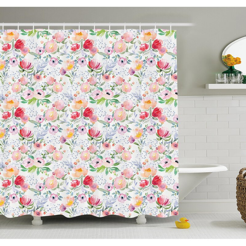 Ambesonne Flower Colorful Watercolor Effect Spring Flowers With Leaves English Country Design Shower Curtain Set