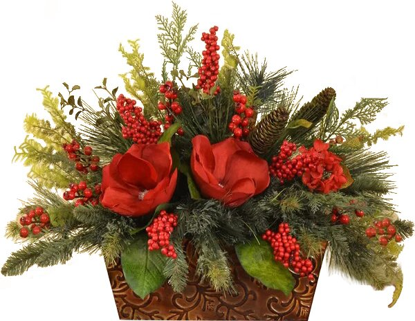 Floral home decor magnolia and berry christmas centerpiece