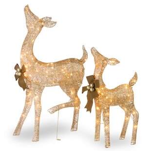 fawn and doe decoration figurine set