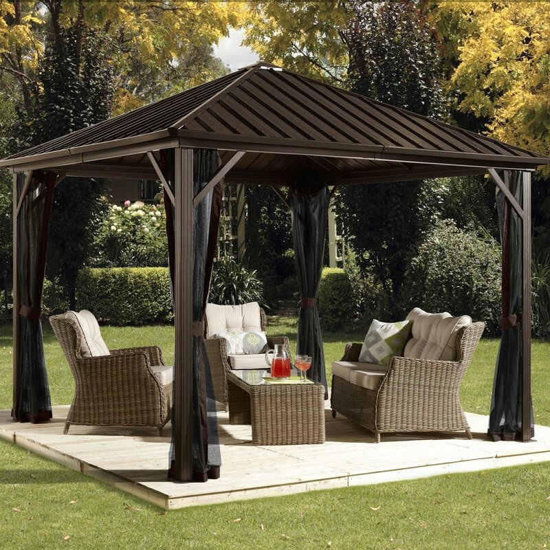 Sojag dakota 12 ft w x 10 ft d aluminum permanent gazebo for Bellagio gazebo club piscine