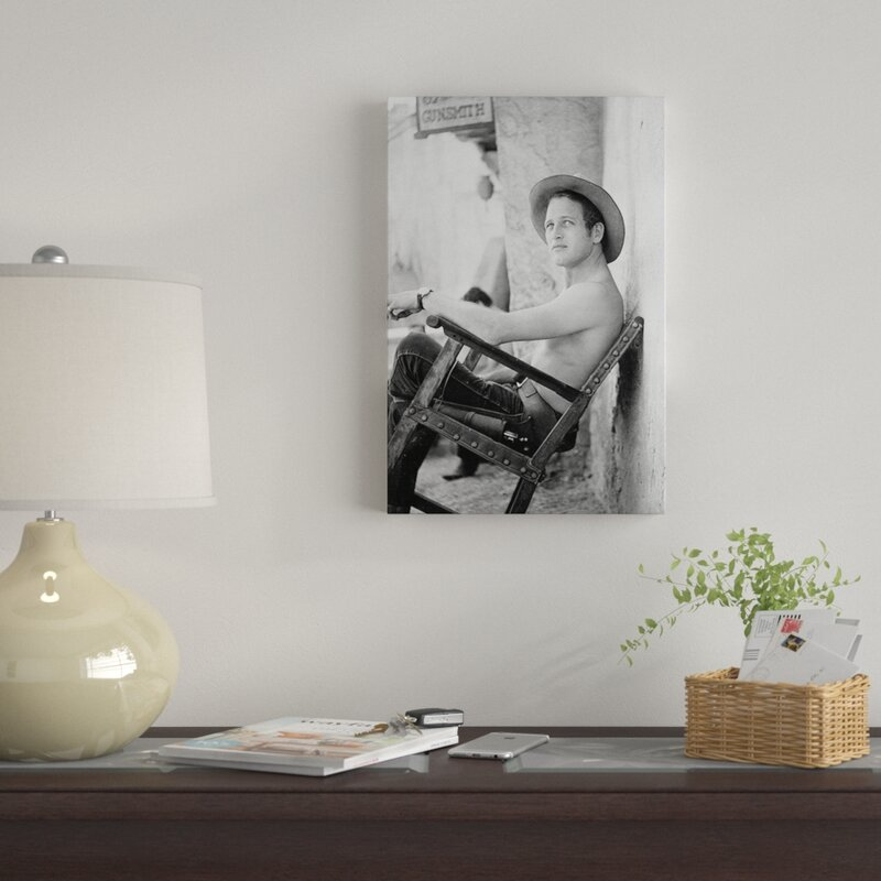 b47d5b4f5a94c  Paul Newman Shirtless Wearing a Cowboy Hat  Photographic Print on Canvas.