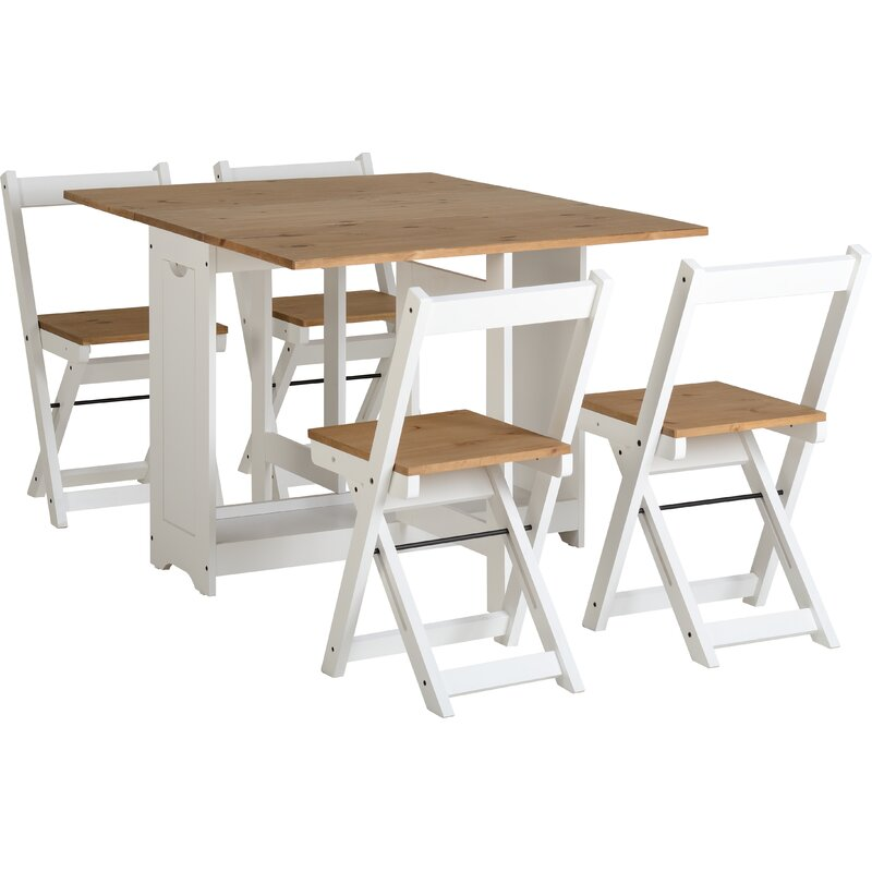 Of Set Chairs 4 Brownfoldingdining: August Grove Southchase Folding Dining Set With 4 Chairs
