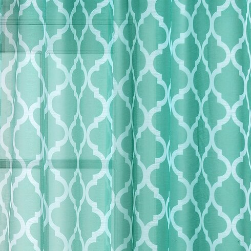 Newbury Quatrefoil Geometric Sheer Grommet Single Curtain Panel