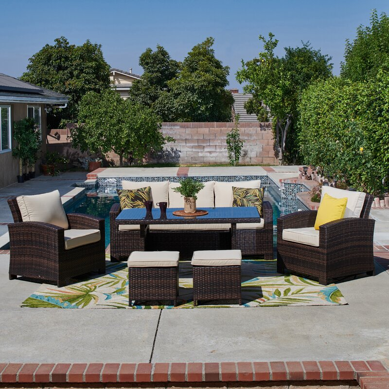 2ae12a57a037 August Grove Ferndown 6 Piece Rattan Sofa Set with Cushions & Reviews |  Wayfair