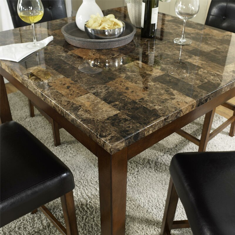 Ordinaire Sison Faux Marble 5 Piece Counter Height Dining Set