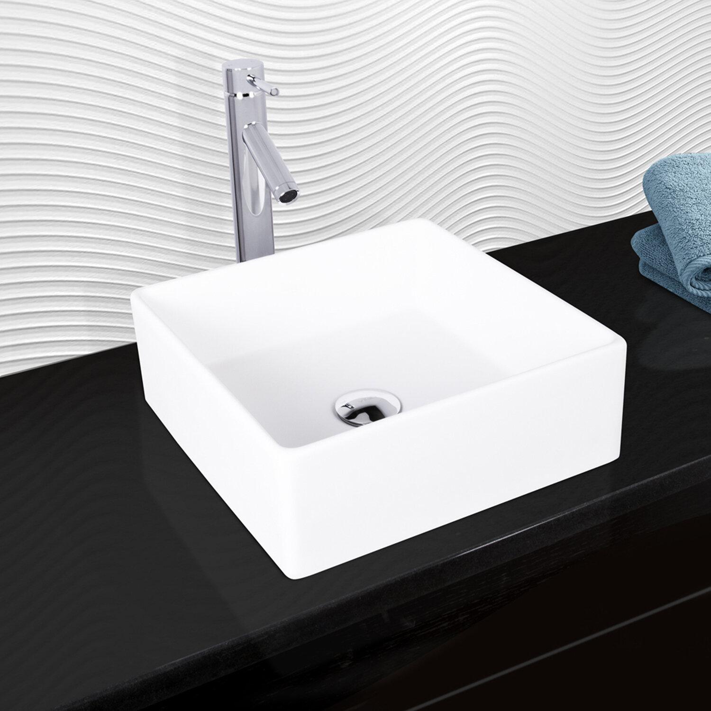VIGO VIGO Matte Stone Square Vessel Bathroom Sink with Faucet | Wayfair