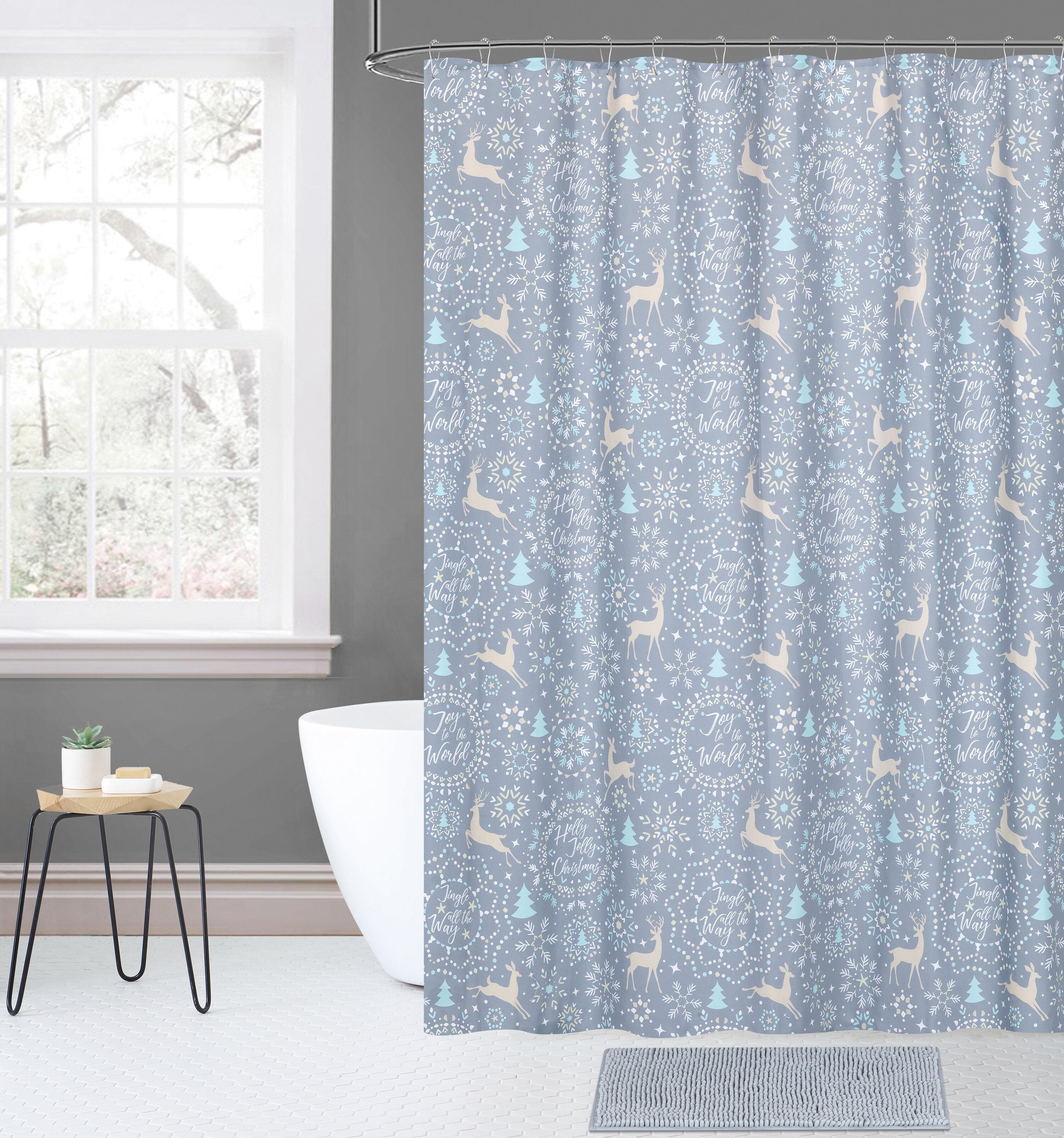 The Holiday Aisle Overturf 14 Piece Joy Noel Jolly Christmas Plaid Shower Curtain Set