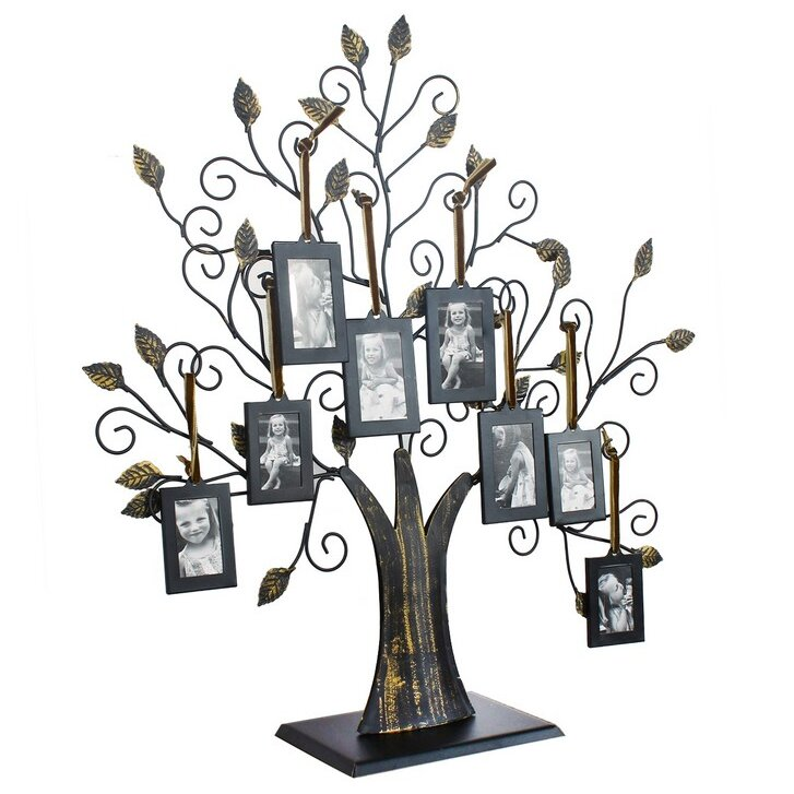 Adecotrading 8 Opening Decorative Iron Tree Table Top Collage