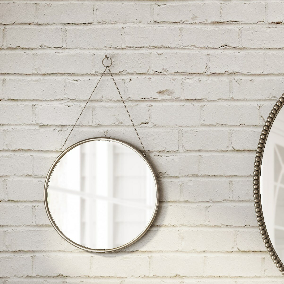 Kate And Laurel Brea Decorative Round Hanging Wall Accent Mirror