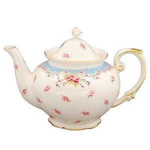 Flore 1.25-qt. Vintage Blue Rose Porcelain Teapot
