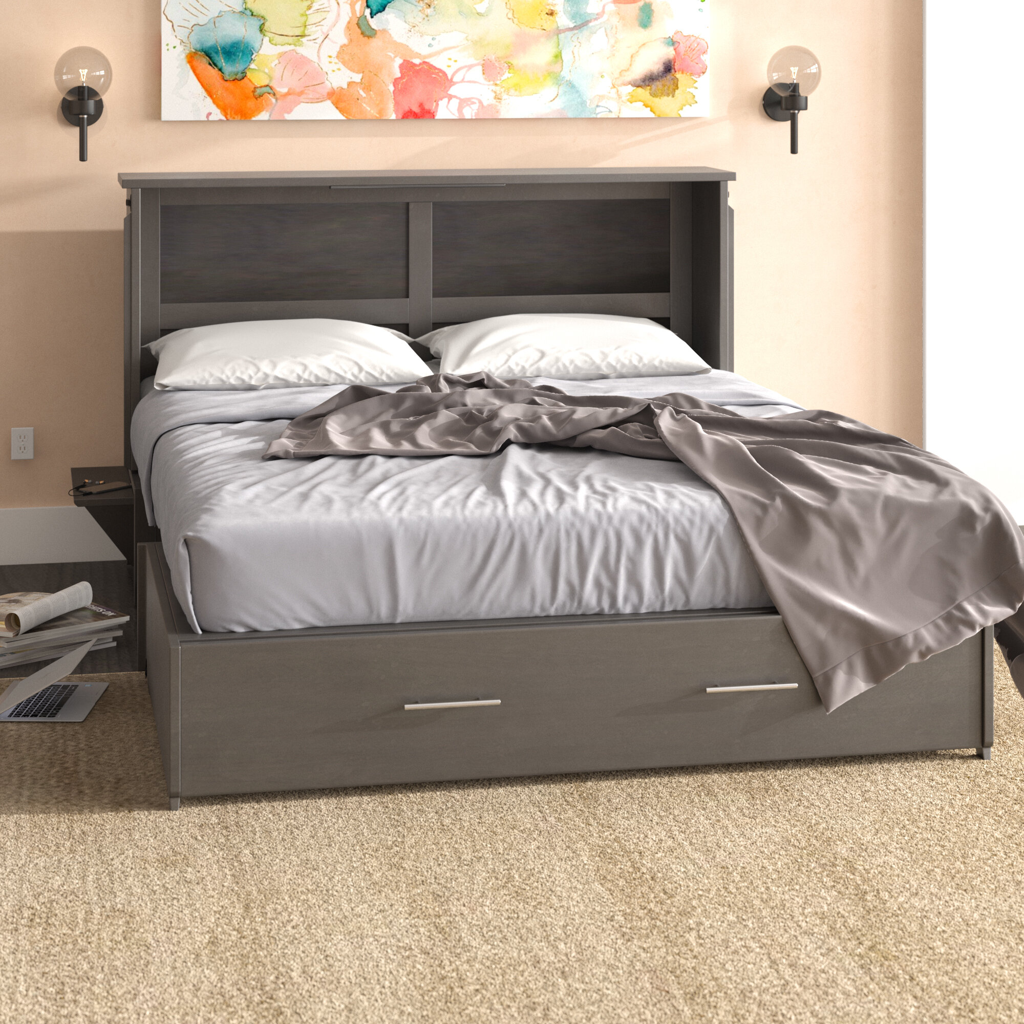 Queen Bed.Edmeston Queen Storage Murphy Bed With Mattress