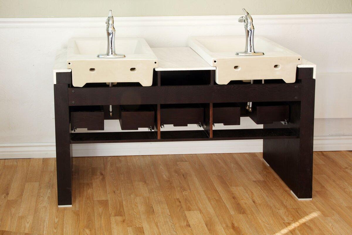 """Bathroom Sinks Essex bellaterra home essex 58"""" double bathroom vanity set & reviews"""